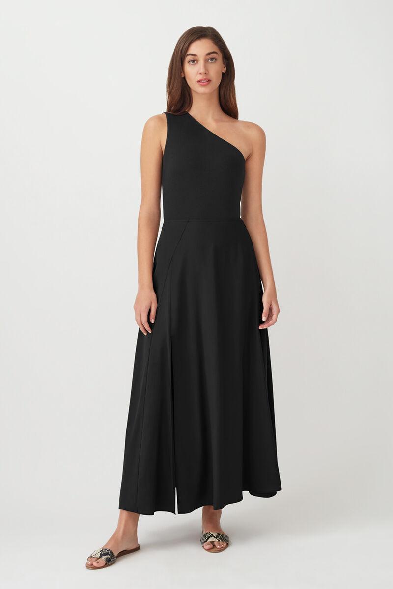 Tencel Split Front Maxi Skirt in Black