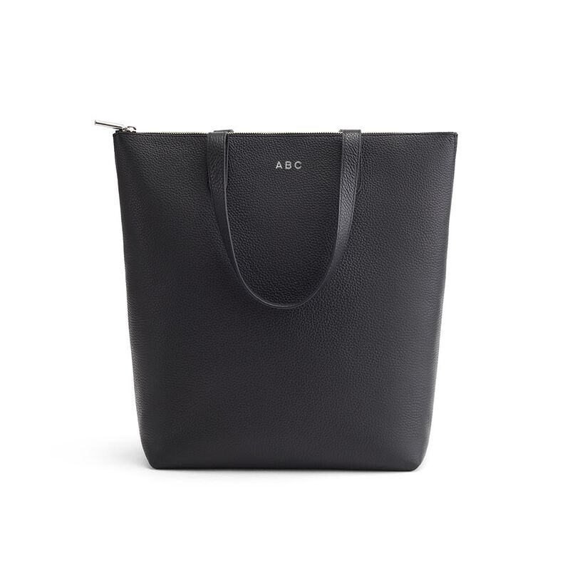 Tall Structured Leather Zipper Tote in Black/Silver