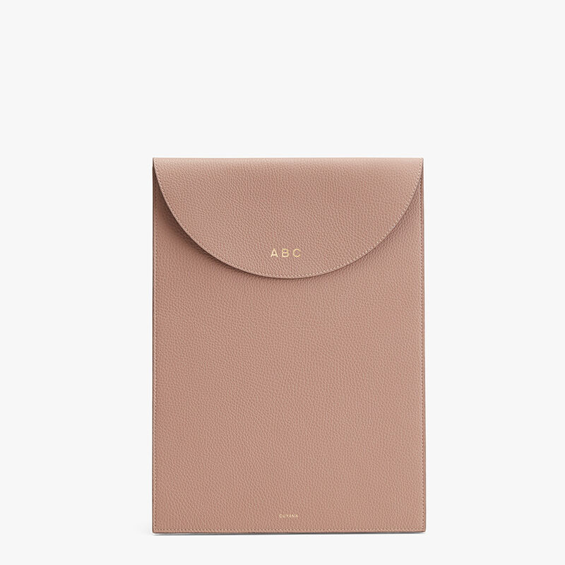 Convertible Leather Laptop Sleeve 13-14-inch in Soft Rose/Cappuccino