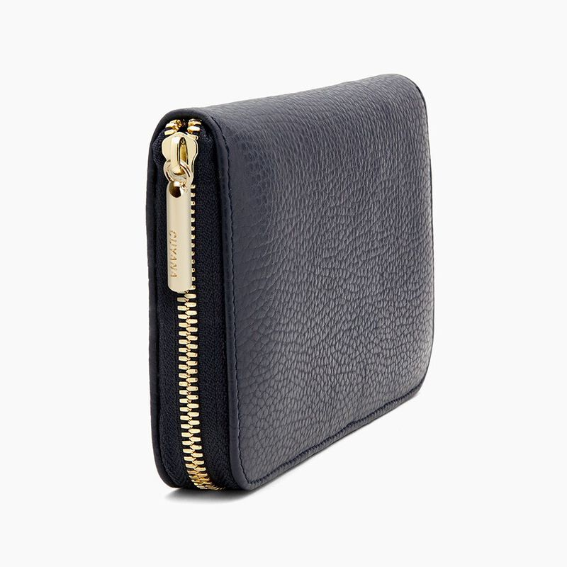 Classic Zip Around Wallet in Navy/Stone