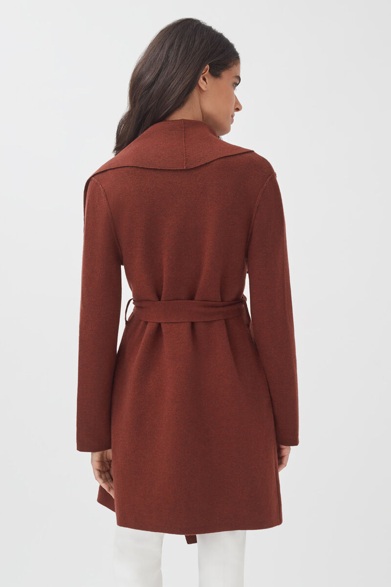 Wool Cashmere Short Wrap Coat in Rust