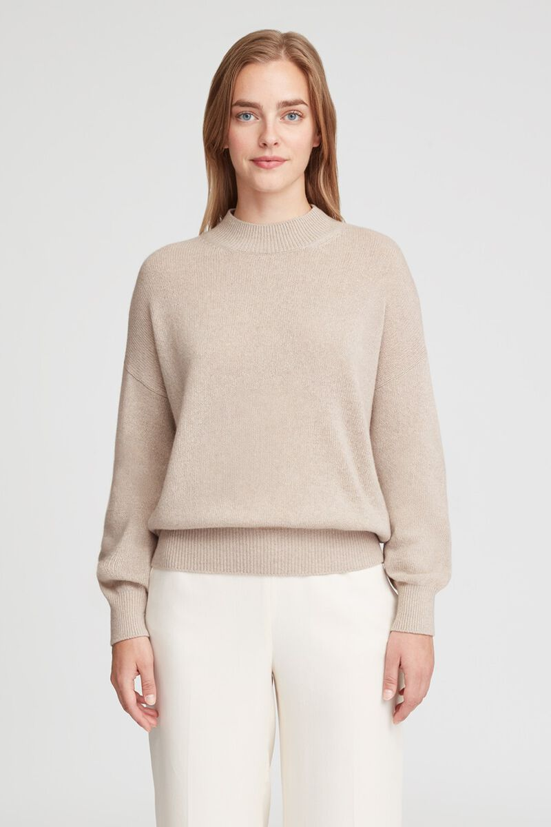 Recycled Cashmere Mock Neck Sweater in Beige