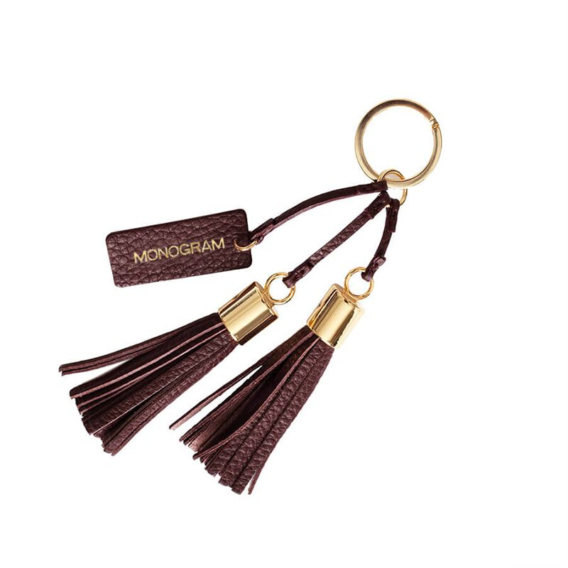 Leather Tassel Keychain in Burgundy