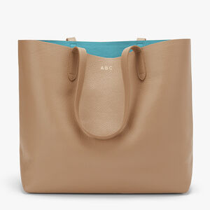 Classic Structured Leather Tote, Cappuccino/Blue (Limited Edition), mono-gallery