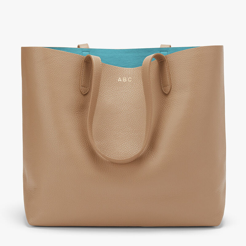 Classic Structured Leather Tote, Cappuccino/Blue (Limited Edition), large