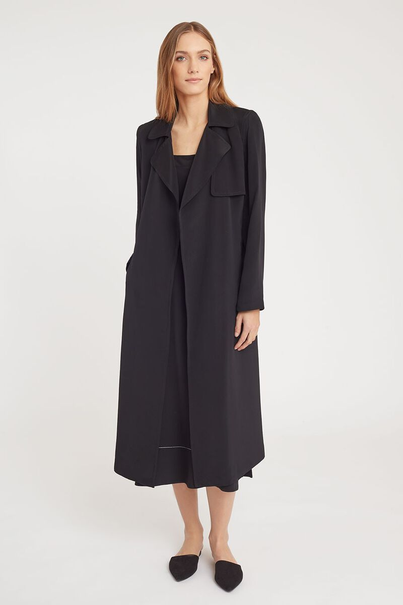 Silk Classic Trench in Black