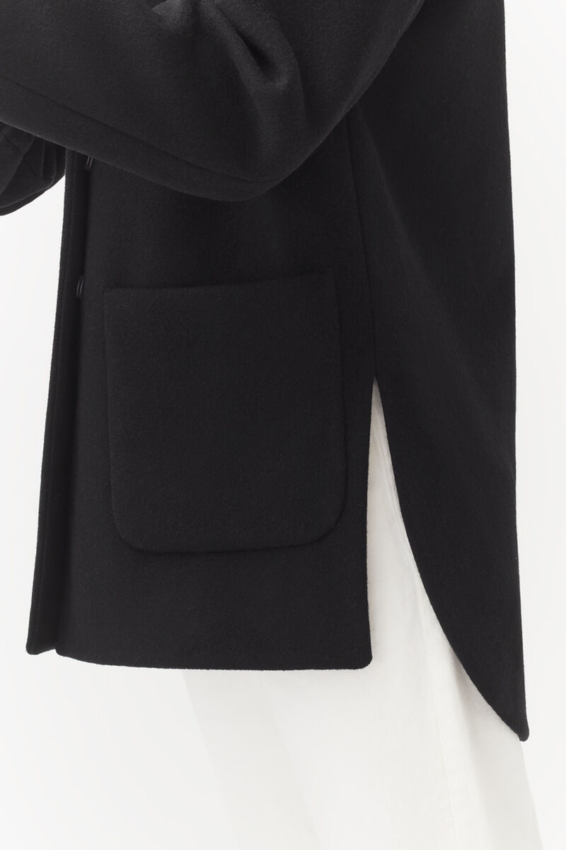 Wool High-Low Jacket, Black, large