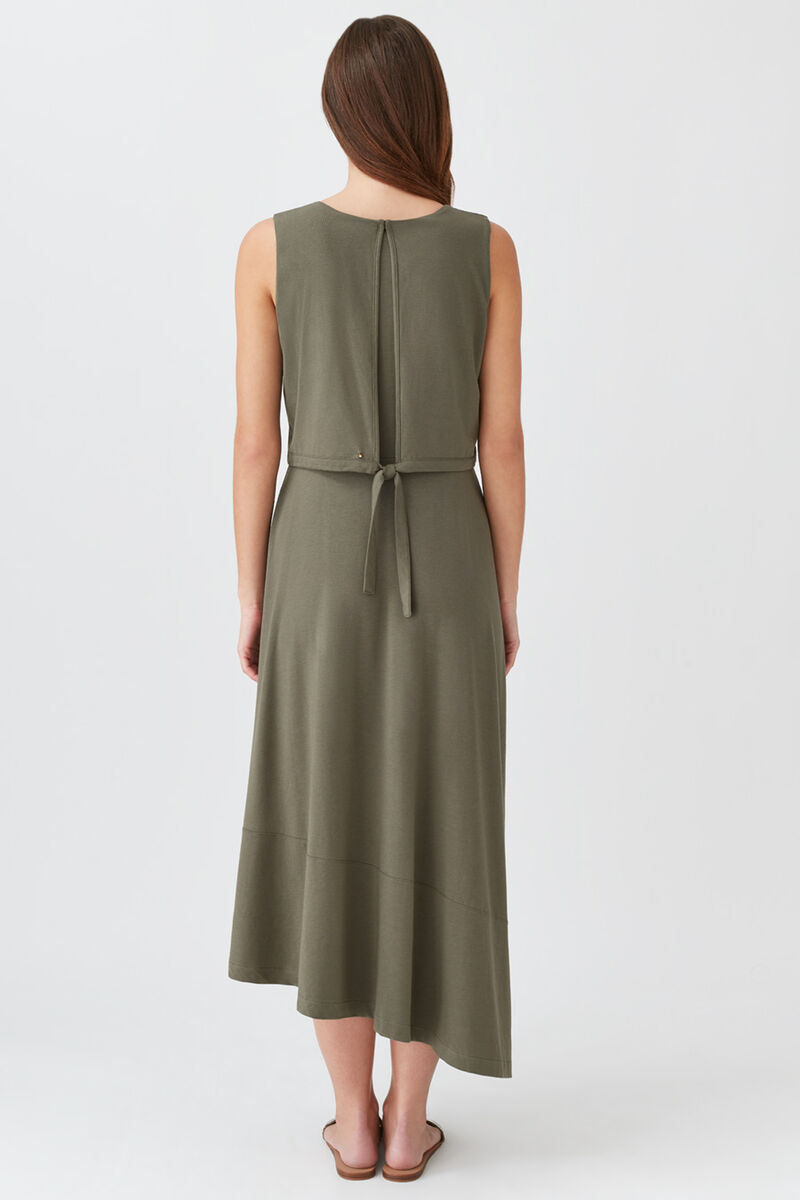 Asymmetrical Overlay Dress in Olive