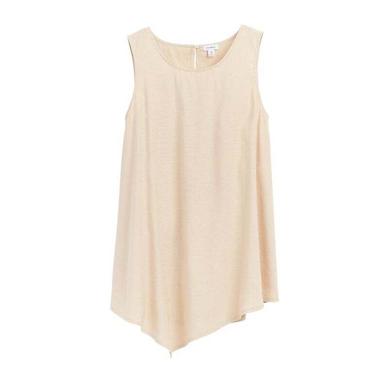 Linen Draped-Front Shell Top in Sand