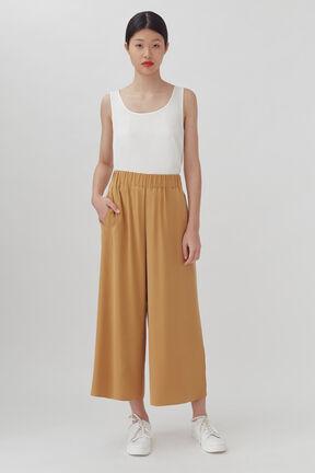 Washable Silk Wide-Leg Cropped Pant, Honey, plp