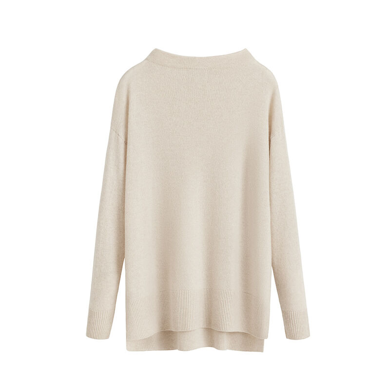 Single-Origin Cashmere Funnel Neck Sweater in Ecru