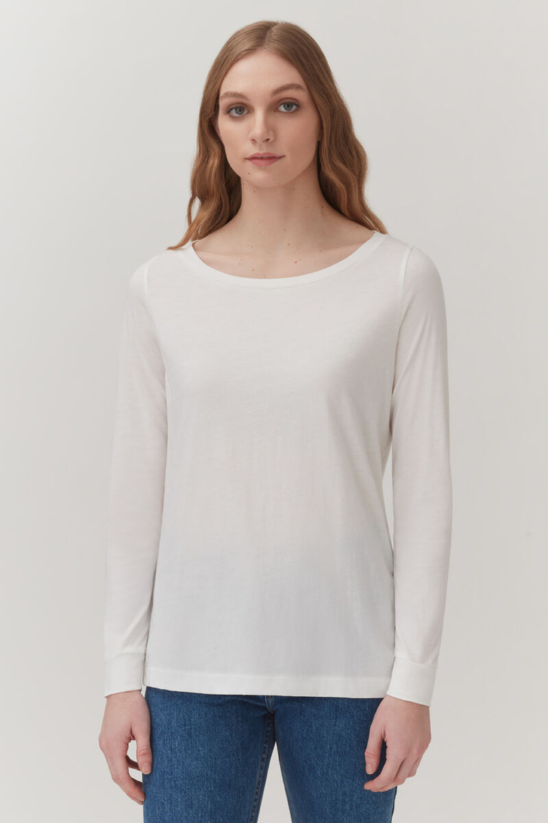 Pima Boatneck Long Sleeve Tee in White