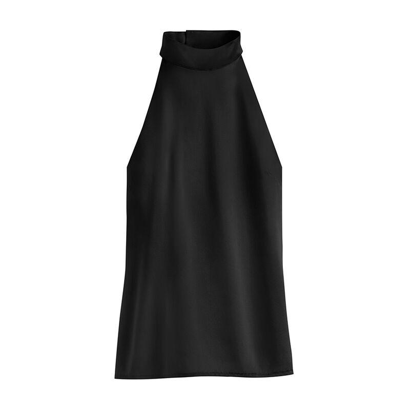 Charmeuse Halter Top in Black