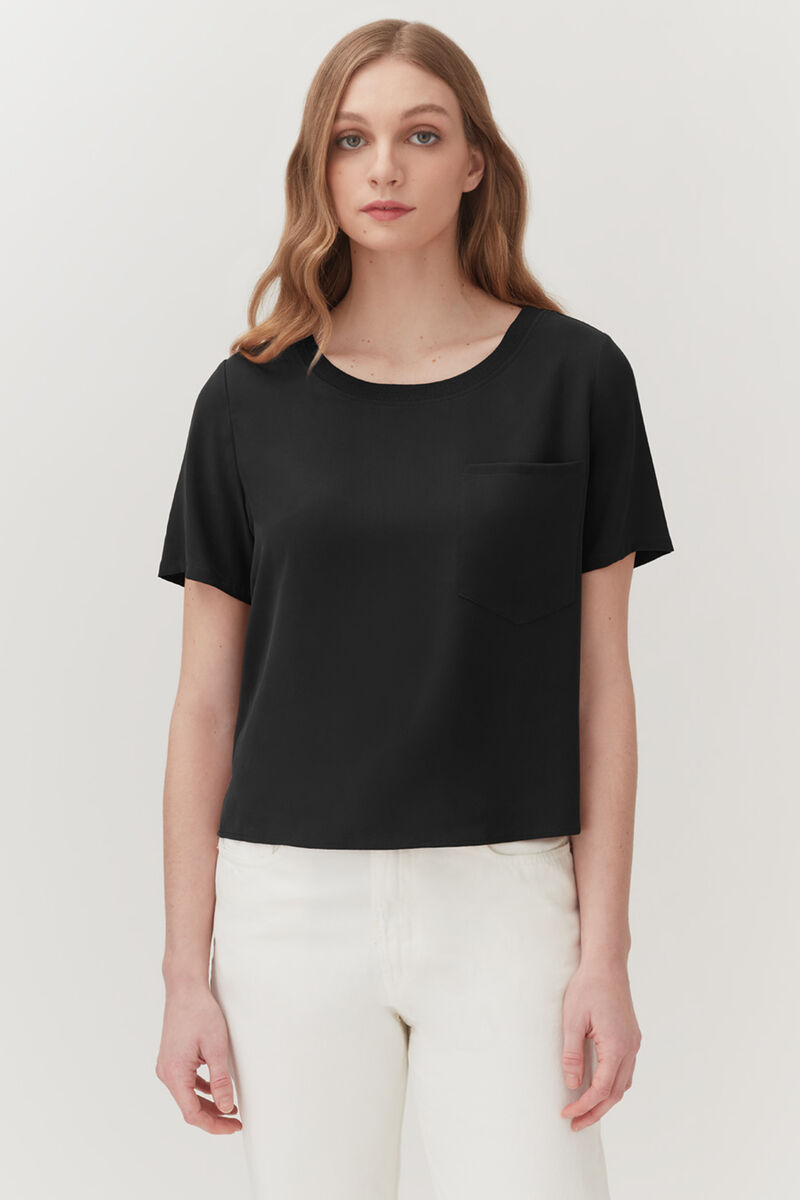 Washable Silk Pocket Tee in Black