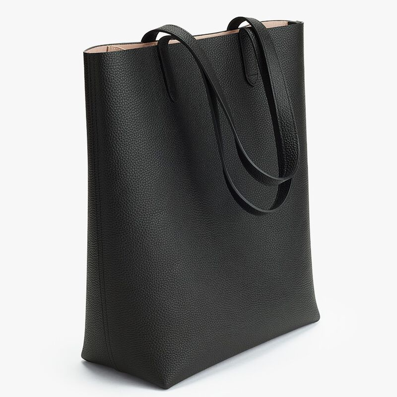 Tall Structured Leather Tote in Black