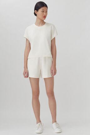 French Terry Short Sleeve Sweatshirt, Ecru, plp
