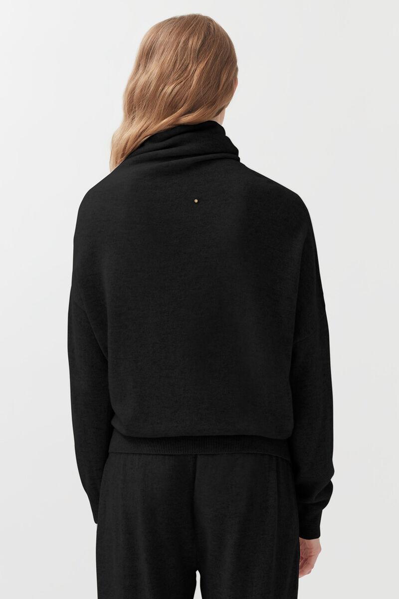 Cashmere Asymmetrical Turtleneck Sweater in Black
