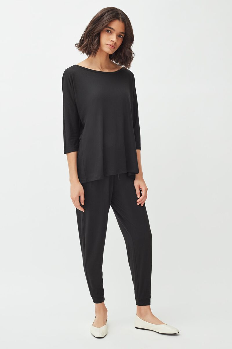 Pima Tapered Pant in Black