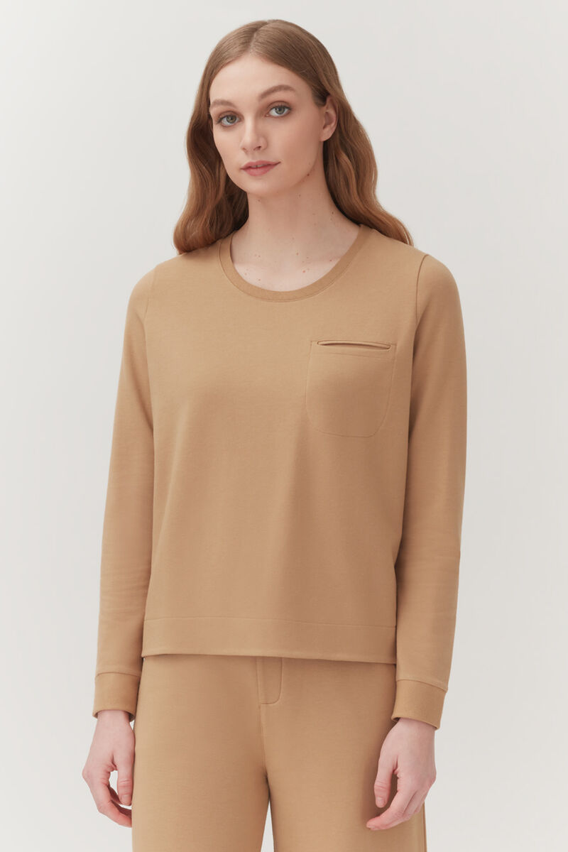 French Terry Pleat-Back Sweatshirt in Camel