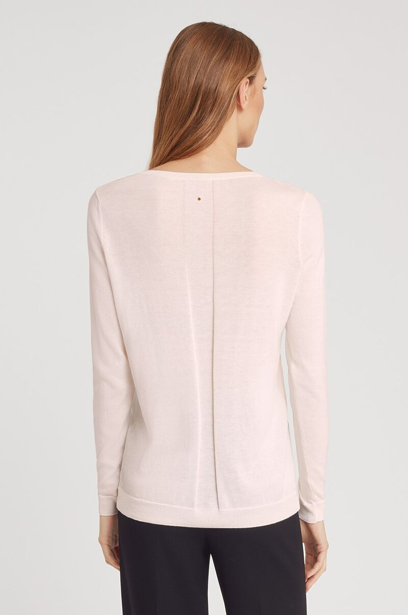 Classic Cotton Cashmere Crewneck Sweater in Blush