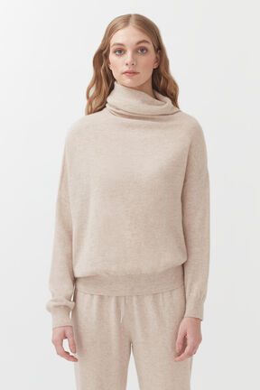 Cashmere Asymmetrical Turtleneck Sweater