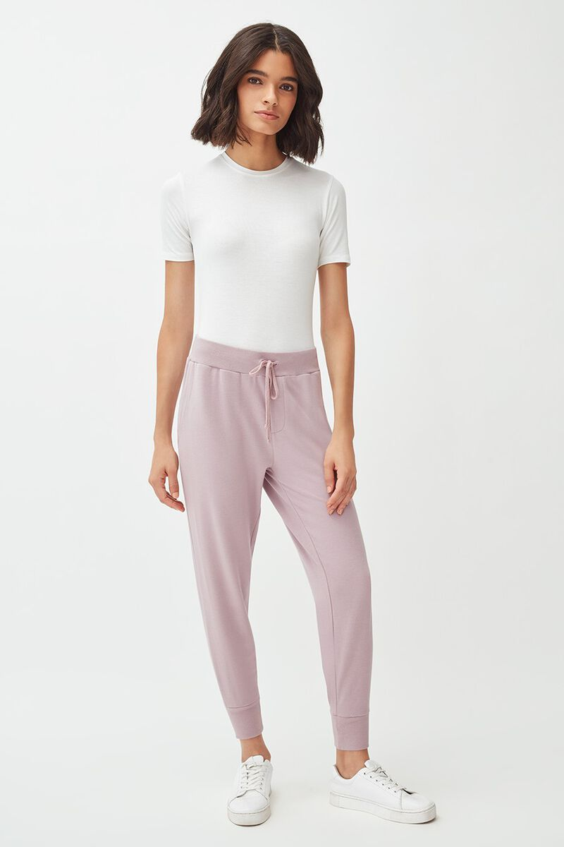French Terry Tapered Lounge Pant in Dusty Lilac