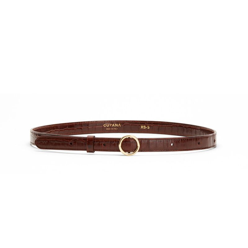 Circle Buckle Belt in Chocolate