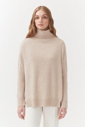 Cashmere Mock Neck Sweater, Beige, plp