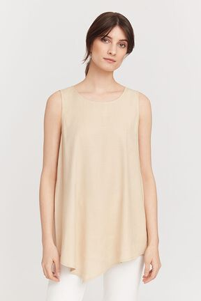 Linen Draped-Front Shell Top