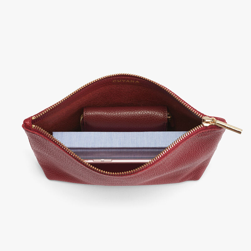 Small Leather Zipper Pouch in Ruby