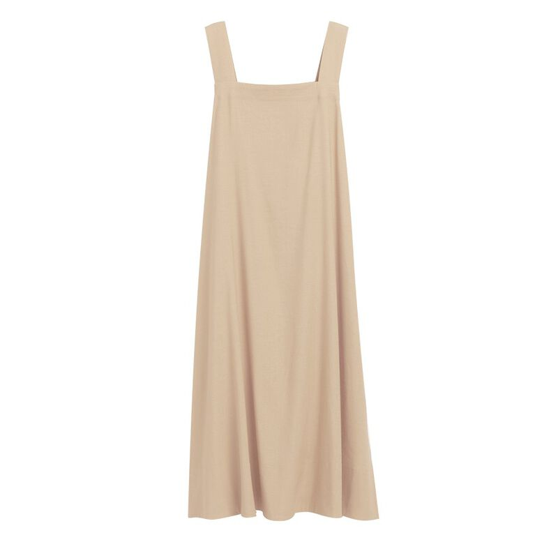 Linen Tie-Back Dress in Sand