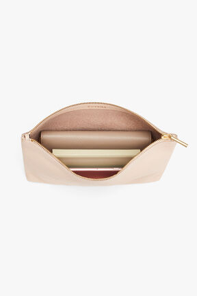 Medium Leather Zipper Pouch, Blush, plp