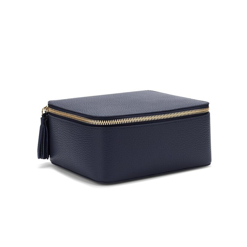 Leather Jewelry Case in Navy