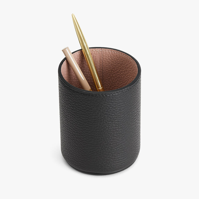 Leather Organizer Cup in Black/Soft Rose