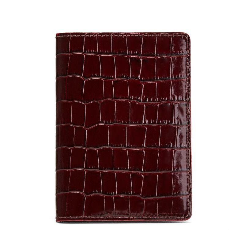 Slim Passport Case in Textured Burgundy