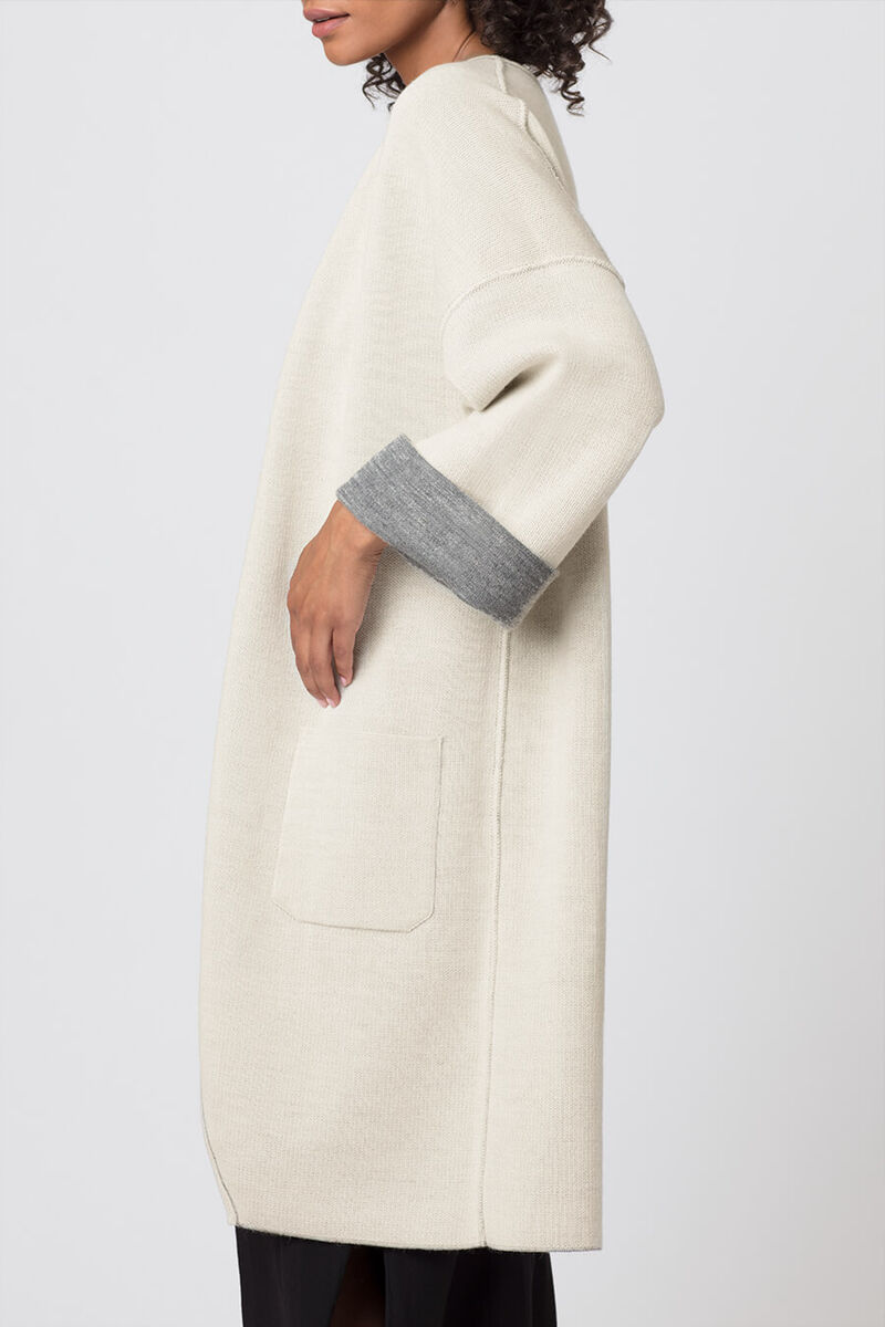 Lightweight Reversible Knitted Coat in Grey/Ecru