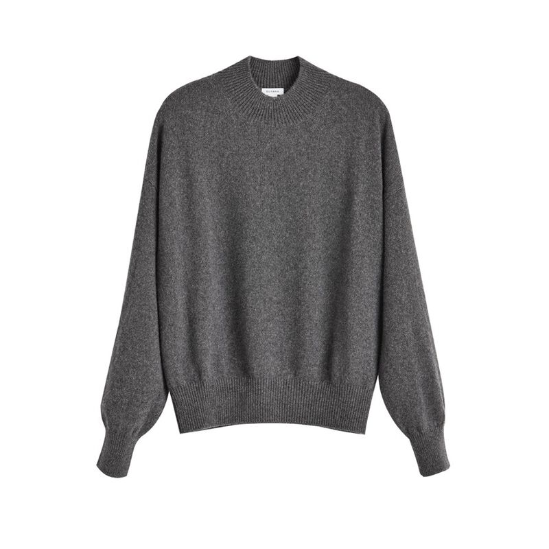 Recycled Cashmere Mock Neck Sweater in Charcoal