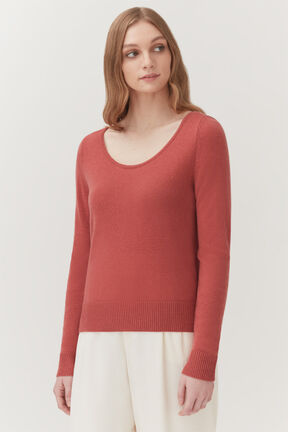 Single-Origin Cashmere Scoop Neck Sweater in Passion Fruit