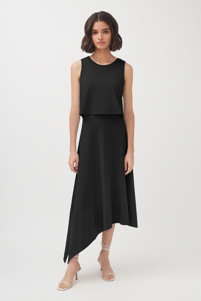 Asymmetrical Overlay Dress in Black