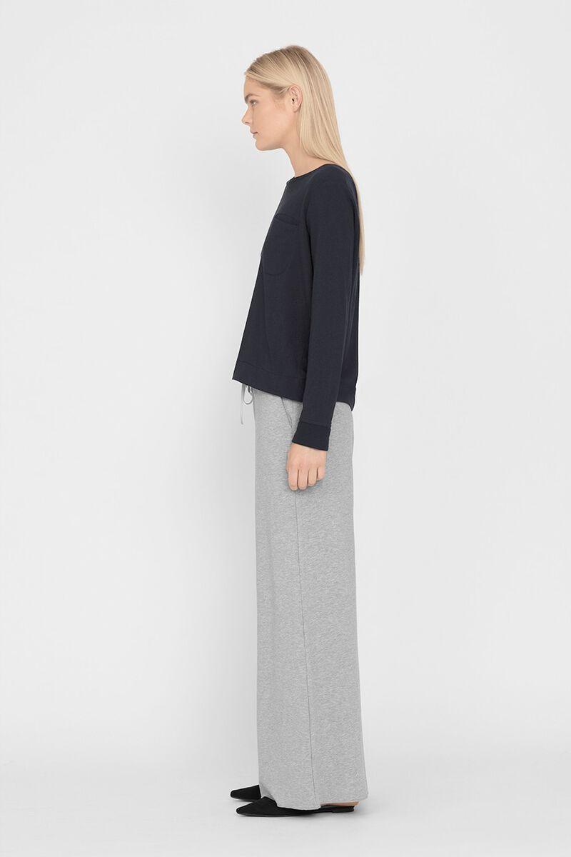 French Terry Pleat-Back Sweatshirt in Black