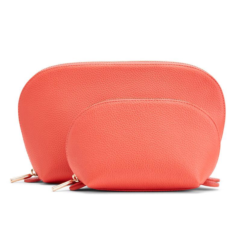 Leather Travel Case Set, Blood Orange, large