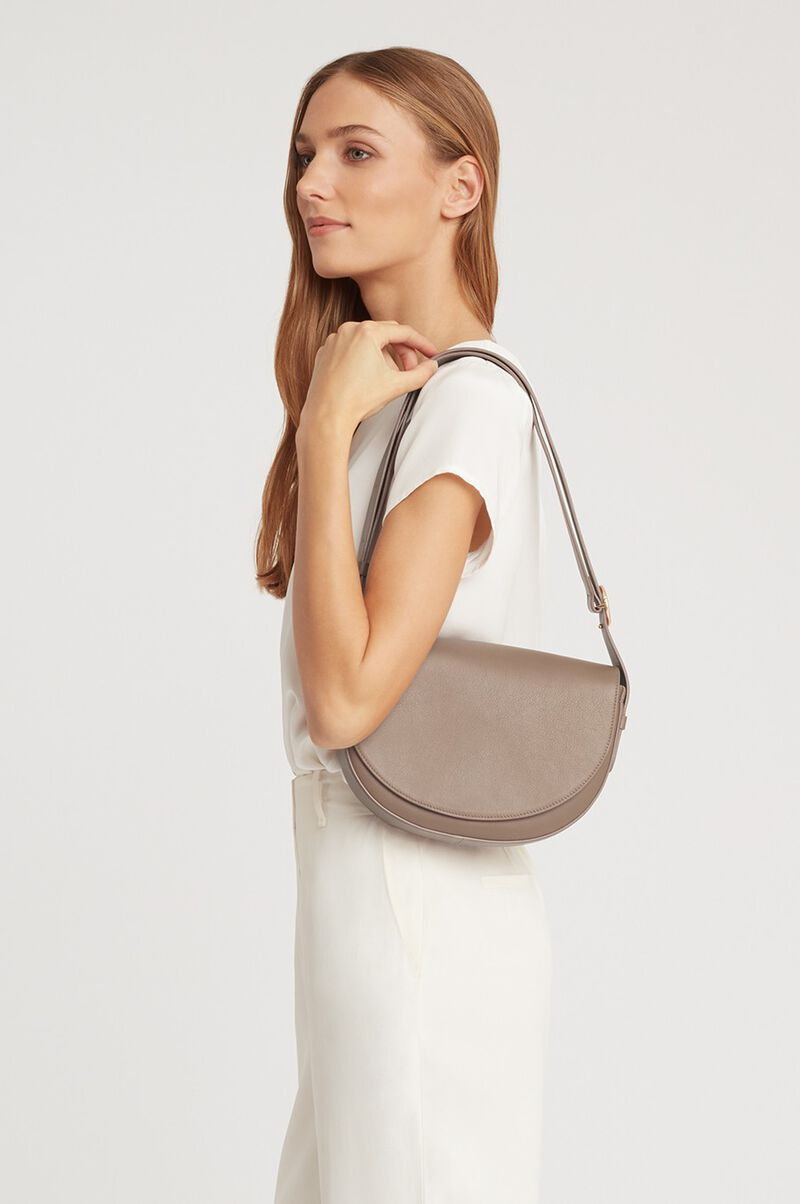 Half-Moon Shoulder Bag in Stone