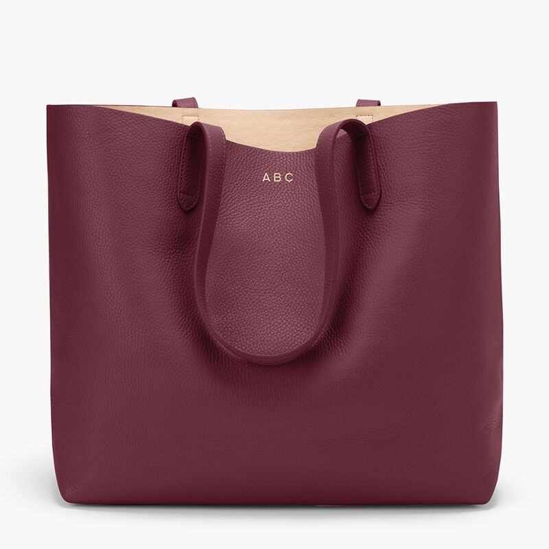 Classic Structured Leather Tote in Merlot/Blush