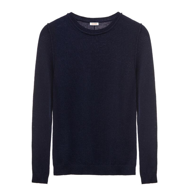 Wool Cashmere Slim Crewneck Sweater in Navy