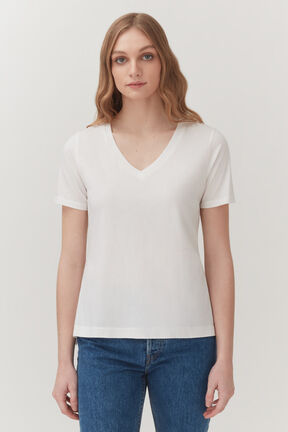 Pima V-Neck Tee in White