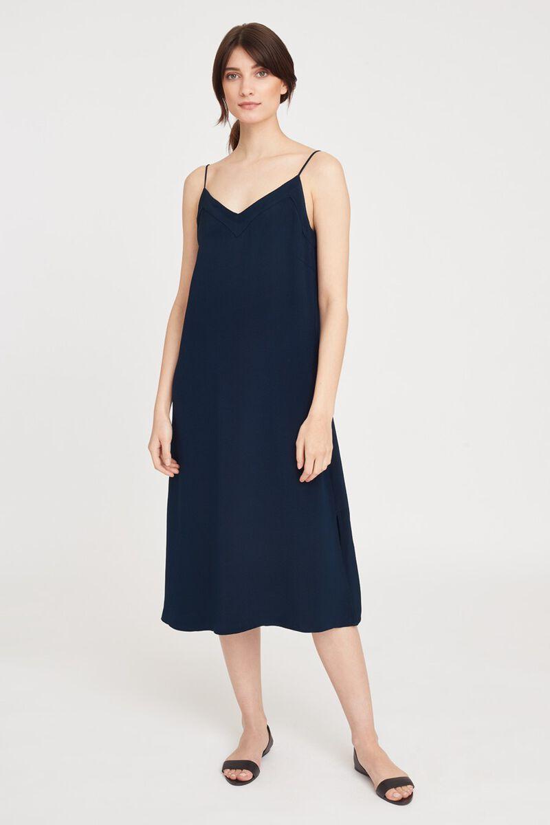 Silk Slip Dress in Navy