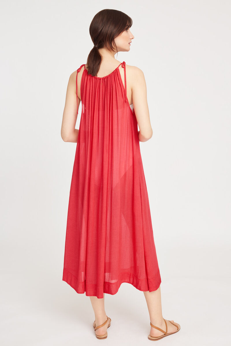 Gathered Neck Maxi Cover Up Lipstick
