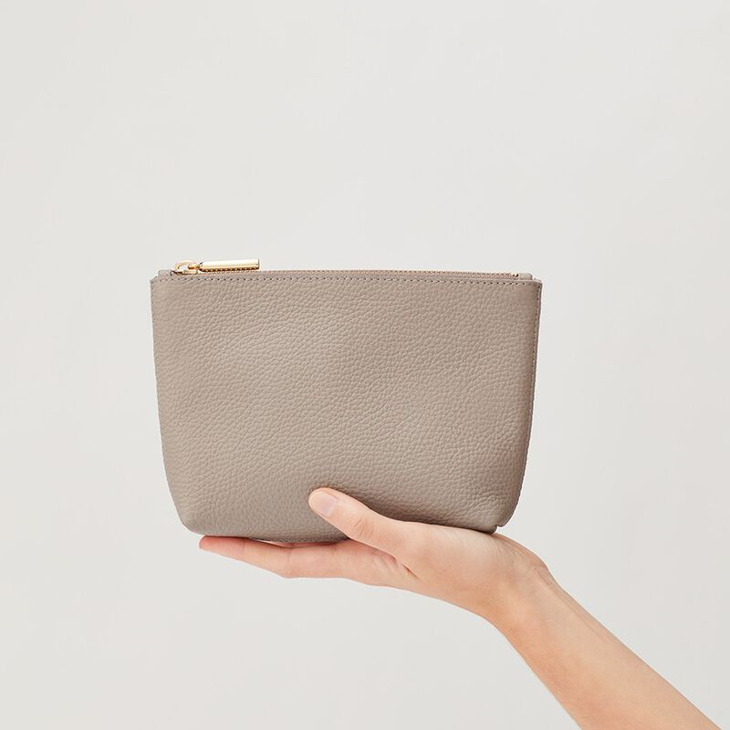 Mini Leather Zipper Pouch in Stone