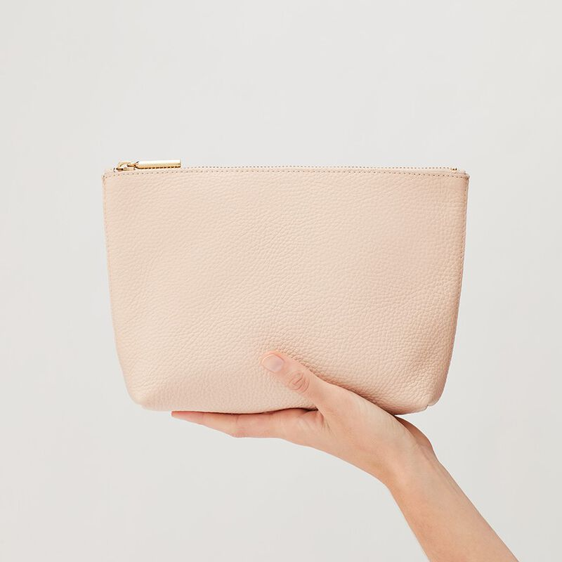 Small Leather Zipper Pouch in Blush