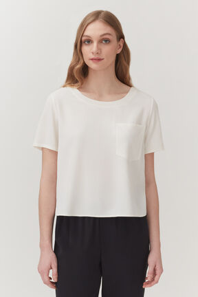 Washable Silk Pocket Tee in White